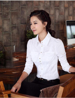 2013 women's autumn shirt OL outfit long-sleeve slim shirt white female