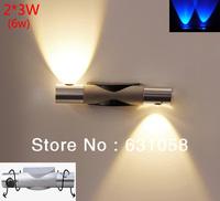 HOT New Modern Aluminum Wall Lights 110-240V 2*3W(6w) wall mount light lamp bedside lamp bulb Living Room Bar KTV Free Shipping
