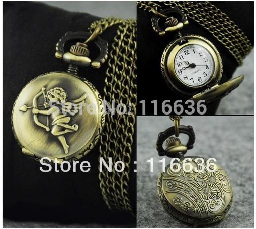 Small POCKET WATCH woman Bronze chain necklace watch women CUTE CUPID Angel Casual Dress Watch