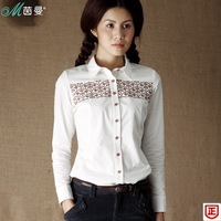 Inman 2013 autumn print patchwork 100% cotton long-sleeve shirt female shirt female 8330110038