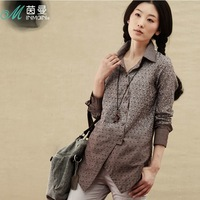Inman 2013 100% cotton shirt female dot medium-long casual female long-sleeve shirt