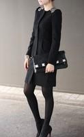 Plus size women winter coat 2013 autumn and winter new fashion woolen outerwear women slim trench woolen overcoat free shipping