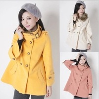 2013 winter faux woolen outerwear epaulette double breasted stand collar wool coat wool  y2256