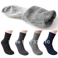 Winter men's thickening loop pile thermal shock absorption snow socks male warm short solid color socks 2pairs/lot free shipping