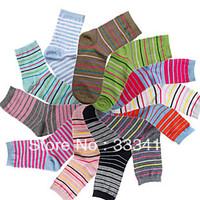 Multicolour cotton stripe socks women's short tube socks cute student socks 5pairs/lot free shipping