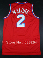 Free Shipping,Cheap Sale,#2 Moses Malone Red Men's Basketball Jerseys,Of The Highest Quality Embroidery logo,