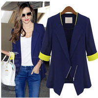 Coat autumn female shirt women's slim half sleeve fashion outerwear female top 658