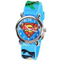 Free Shipping Children Watches Cute Super Man Pattern Cartoon Watch Rubber Watchband Round Dial Mini Shape Watch for Children