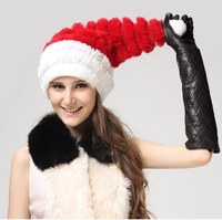 free shipping christmas hat  genuine rabbit fur cap for lady  gift bomber hats