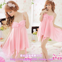Sexy pink bra full dress milk skimpily open file set temptation princess clothes