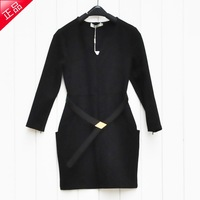 Liwai 2013 autumn fashion V-neck large pocket zipper half sleeve one-piece dress
