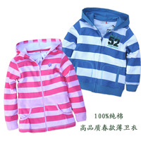 100% 2013 spring child cotton zipper hoodie long-sleeve stripe sweatshirt fleece awesome