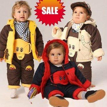 MooncakePROMOTION baby children warm thick coat jacket+jumpsuit pant trouse kid winter suit set clothing infant wear