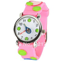Free Shipping Cute Tennis and Racket Pattern Cartoon Watch Pink Rubber Watchband Round Dial Mini Shape Watch for Children