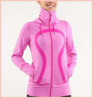 Free Shipping 2014 Lululemon Pink Cuddle Hoodie High Quality Lulu lemon Caps Yoga Hoodies/Sweatshirts for Women Size: 2-12