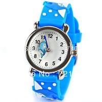 Free Shipping Cute Children Watch Dolphin Pattern Cartoon Watch Blue Rubber Watchband Round Dial Mini Shape Watch for Children