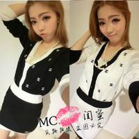 1531 casual women's set cardigan outerwear short skirt slim hip skirt color block women's autumn trend