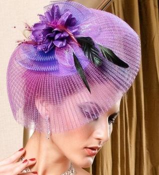 New 2013 Fashion Veil Fascinator Purple Flower Ostrich Feather Cocktail Hat Hair Accessories Women Couture Headpieces WIGO0176