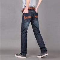 free shipping Men's clothing straight jeans Men water wash jeans