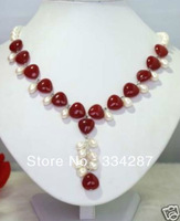 Designer white Genuine Freshwater  pearl  Red Jade Heart-Shaped Jewelry necklaces  18inches
