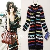 New 2013 star striped mohair sweater loose belt cardigan long design sweater women free shipping