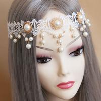 Lace Bridal Vintage Crystal Pearl Headband Headpiece Tiara