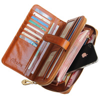 Pfennig genuine leather wallet+ female long design mobile phone bag Purse+ coin purse multi card holder young Lady clutch bag