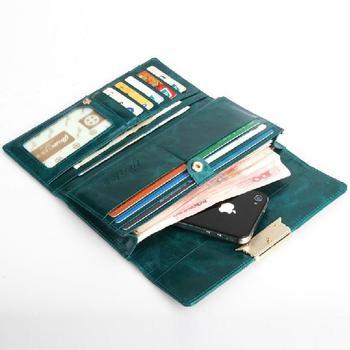 Long design cowhide wallet/ card holder Purse vintage credential Flower Emboss Wallet Fashion buckle Close Lady Clutch Bag
