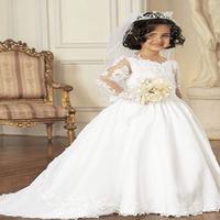 Free shipping long-sleeve 2014 child princess dress flower girl formal dress wedding 3-16 age