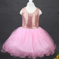 Hot retail 2014 new summer girl sequins dress novelty children lovely dress lace vest dress free shipping YH011