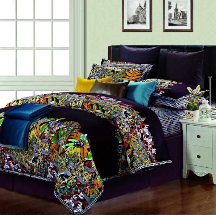 egyptian cotton silk satin colorful comforter bedding set king size