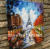 Original Modern palette knife Heavy Texture Impasto Hand oil painting,huge 36''x36'', Paris Eiffel Tower