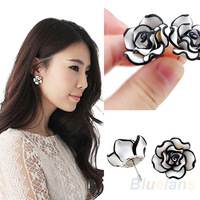 Fashion Women Girl Lady Simple Black & White Rose Flower Ear Studs Earring Accessories