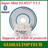 Free Shipping!!2013 Newest A+quality SUPER MINI ELM327 Bluetooth OBD2 V1.5 White Smart Car Diagnostic Interface Scan Tool 5PCS