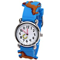 Free Shipping Small Lovely Horse Pattern Children Cartoon Watches Rubber Strap Round Dial Mini Shape Watch for Children - Blue