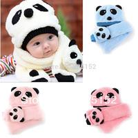 2pcs Toddler Infant Unisex Girl Boy Baby winter Kids Hat Cap Beanie+Scarf Panda Cartoon 1-5Y Headwear 4color