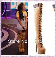 Fashion Motorcycle Boots Lace Up Over Knee Platform Boots Women Winter Large Size
