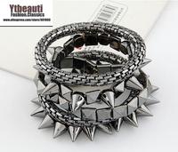 [Mix 15USD]jewelry Fashion Rivet Bracelet snake Chain Multilayer Metal Bangle
