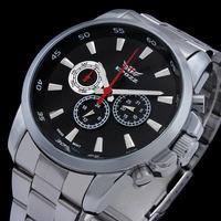 New 2014 Men's Full Steel Watches 6 Hands Black Sports Watch Men Male Boy Luxury Brand EPOZZ Analog Digital Wristwatch Quartz