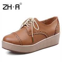 Zhr autumn fashion british style women's platform shoes casual shoes female flat casual shoes flat heel single shoes female h02