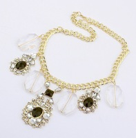 1085#Min.order is $10 (mix order)European and American fashion exaggerated crystal necklace.FREE SHIPPING