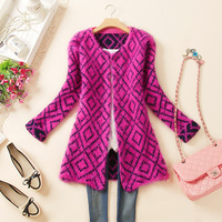 2013 autumn female cardigan medium-long plus size clothing mohair sweater outerwear