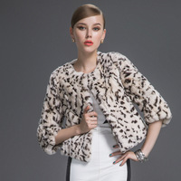 2013 new, rex rabbit gross, women's fur coat, short paragraph, leopard style, lady winter coat, Genuine, EMS freeshipping