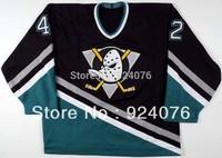 1995-96 Denny Lambert Ice Hockey Anaheim Mighty Ducks Game #42 KOHO Jersey - Customized Any Number & Name Sewn On (XXL-6XL)