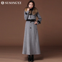 2014 female slim plus size woolen trench outerwear long design large fur collar cashmere woolen overcoat