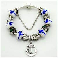 Hot Selling European Silver Plated Anchor Charm Bracelets,Beads Bracelet For Men,19CM,20CM,21CM,PA048