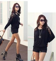 2014 Fashion Autumn Women's Long Sleeve Crew Neck Batwing Dolman Lace Casual Loose Tops T-Shirt Size S M L Free Shipping