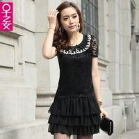 2013 spring and summer women's peter pan collar chiffon one-piece dress short-sleeve faux two piece layered dress basic skirt