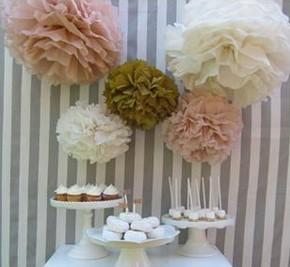 "Free Shipping 6""(15cm) Tissue Paper Pom Poms Wedding Party Decor Craft festival decoration(China (Mainland))"