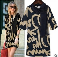 S-XL Free Shipping Women's Autumn fashion slim bottoming one-piece dress with scarf  #AJ18